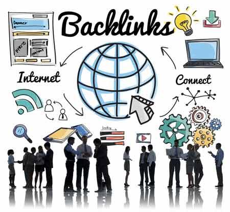 SEO backlink infographic. Person silhuetter under forskellige grafiske elementer der illustrerer indhold/backlink cirklen.