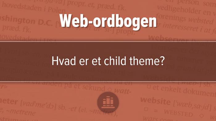 """Udvalgt billede til artiklen, """"Hvad er et child theme?"""". Rødbrunt design med tre horisontale felter, mørkest i midten."""