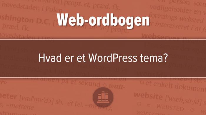 """Udvalgt billede til artiklen, """"Hvad er et WordPress tema?"""". Rødbrunt design med tre horisontale felter, mørkest i midten."""
