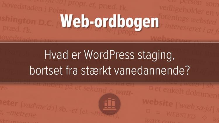 """Udvalgt billede til artiklen, """"Hvad er WordPress staging?"""". Rødbrunt design med tre horisontale felter, mørkest i midten."""