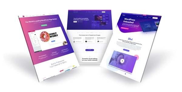 White label webdesign. 3d grafik viser homepage for to populære pagebuildere