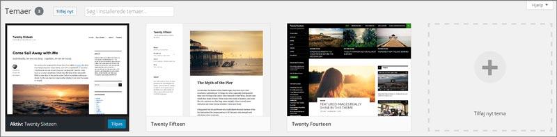 På billedet ses tema oversigten i WordPress kontrolpanel, med tre standardtemaer der bliver installeret automatisk sammen WordPress
